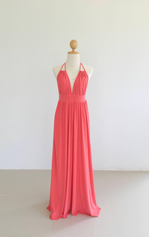 Coral open back Bridesmaid dresses / Maxi Long Dresses/   Etsy