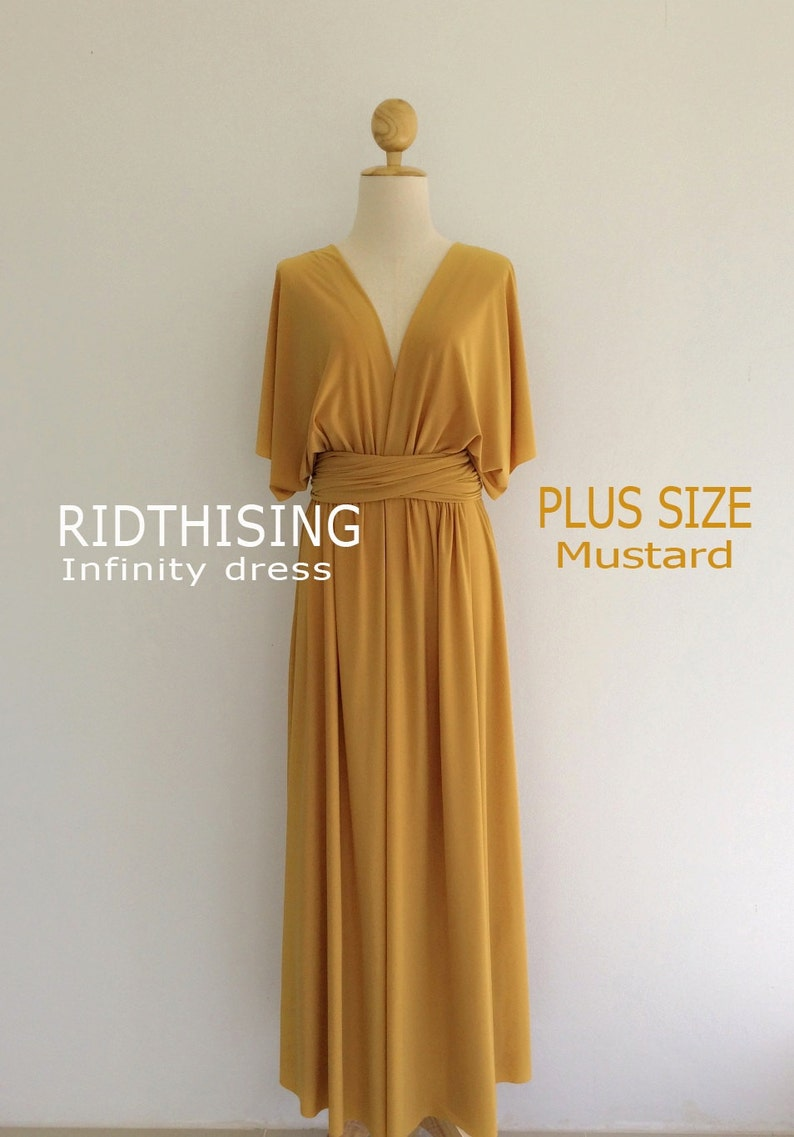 Plus Size Maxi Mustard Infinity Dress Bridesmaid Dress Prom | Etsy