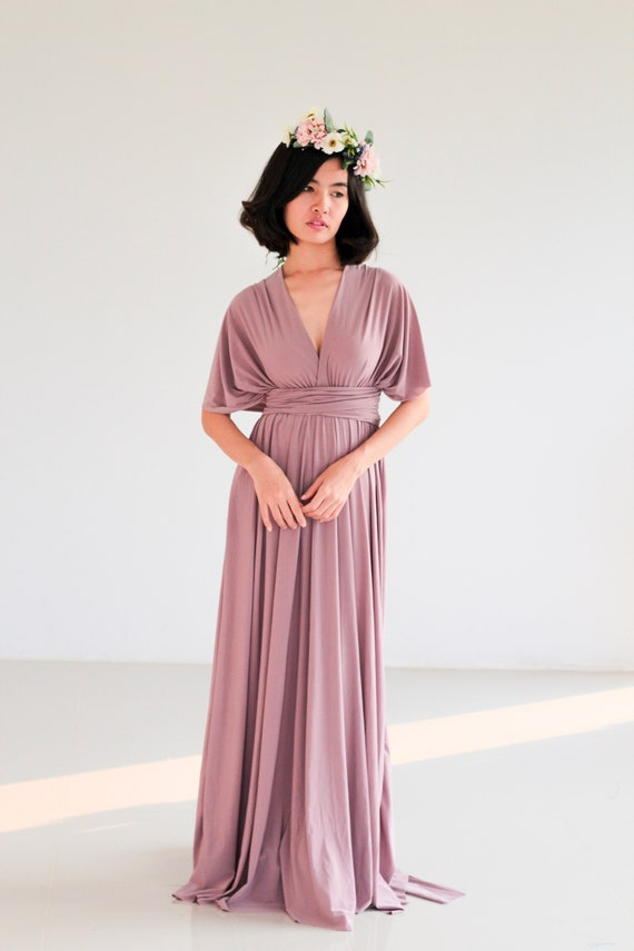 Plus Size Mauve Purple infinity dress Bridesmaid Dress Maxi maternity Dress  Prom Dress Convertible Dress Wrap Dress