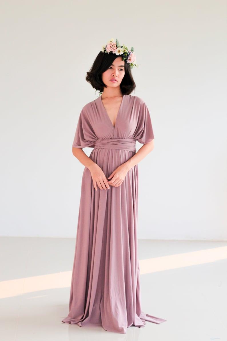 Plus Size Mauve Purple infinity dress Bridesmaid Dress Maxi | Etsy