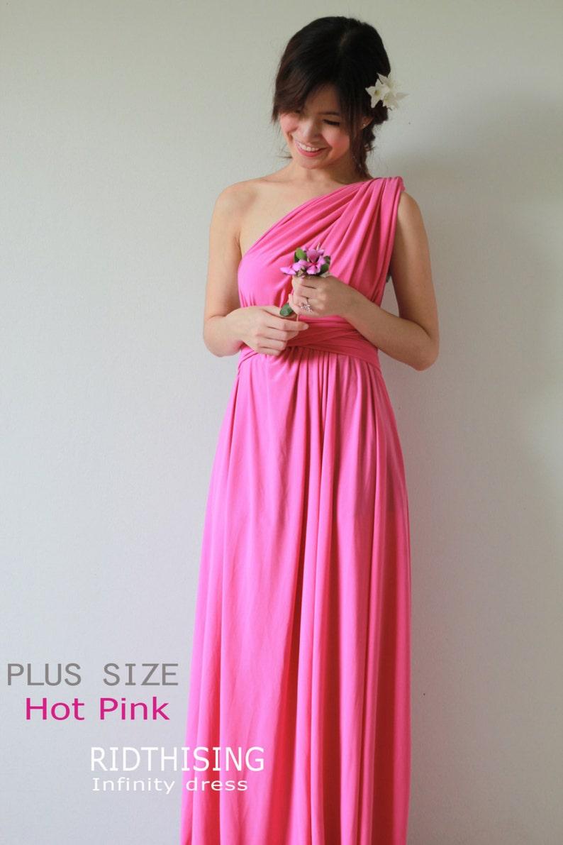 Plus Sizes Maxi Hot Pink Infinity Dress Bridesmaid Dress Prom | Etsy