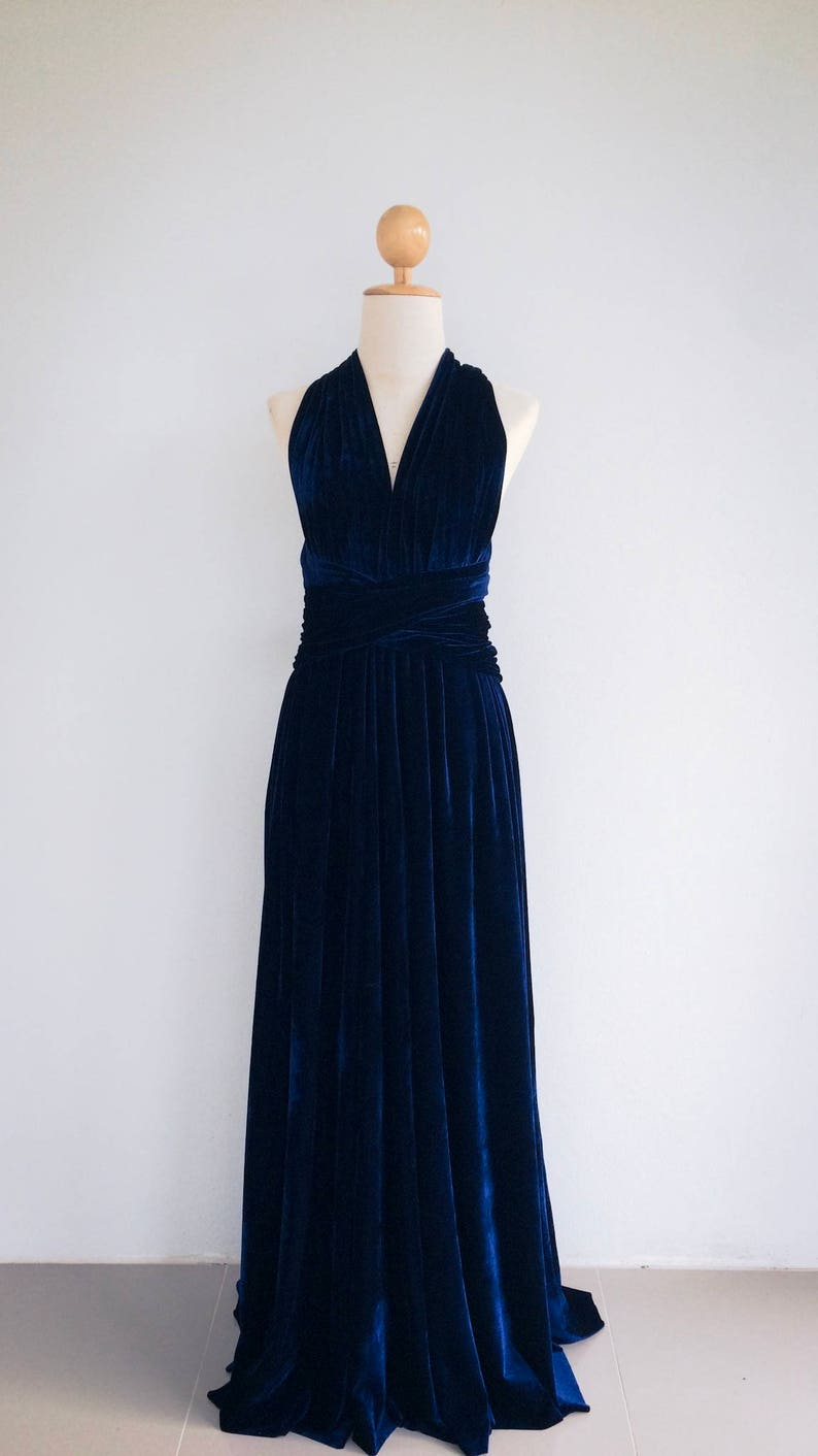 Plus Size Navy Blue Velvet Bridesmaid Dress Maxi infinity | Etsy