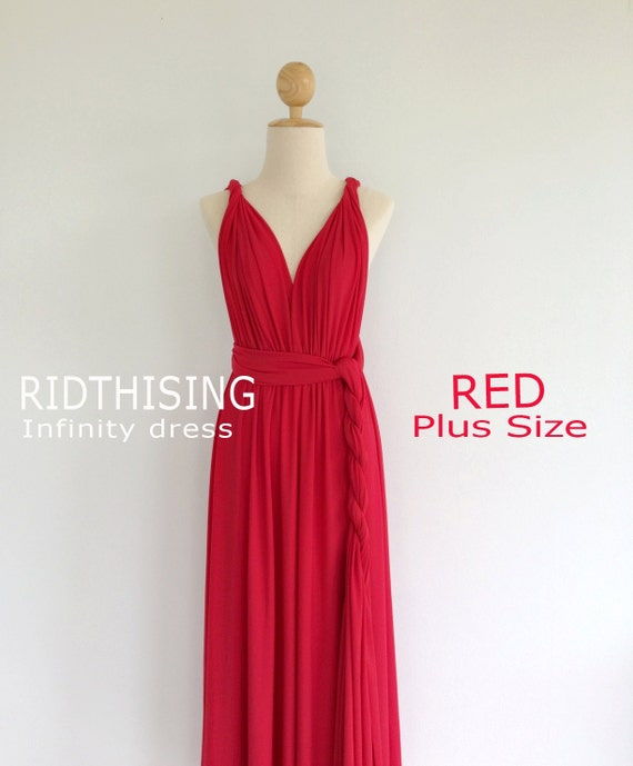 Plus Size Red Infinity Dress Bridesmaid Dress Prom Dress Etsy