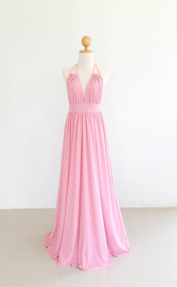 Baby Pink open back Bridesmaid dress light pink Maxi Long Dresses pale pink Maternity Dress open back dress