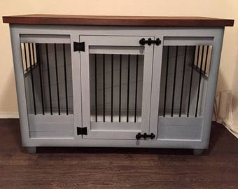 Custom Light Gray Dog Kennel Furniture  Dog Crate Furniture   Hinged Door  Wood Kennel   Custom Kennel Dog Bed   Dog Bed   Pet Furniture