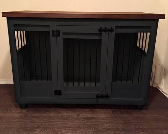 Beau Custom Dark Gray Dog Kennel Furniture Dog Crate Furniture | Etsy