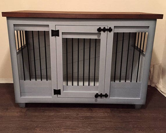 Custom Light Gray Dog Kennel Furniture Dog Crate Furniture Etsy