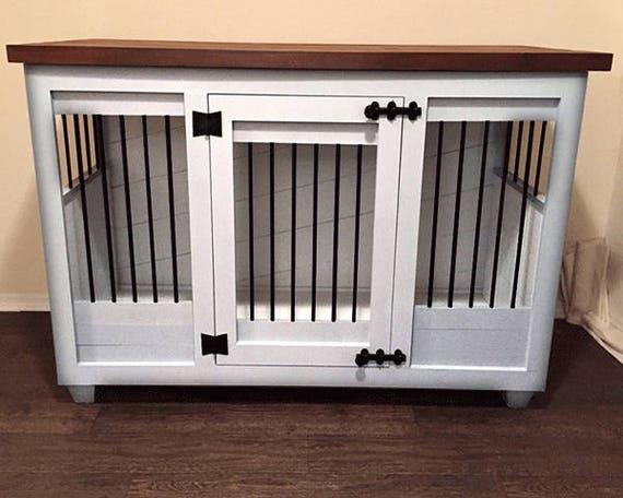 Custom White Dog Kennel Furniture Dog Crate Furniture | Etsy