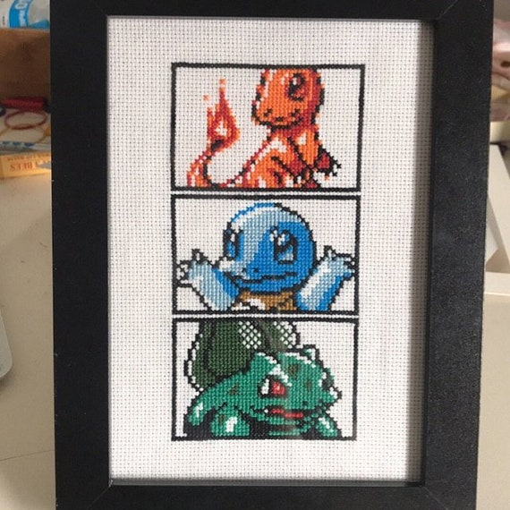 Kanto Starters Charmander Squirtle Bulbasaur Pokemon Cross Stitch Pattern