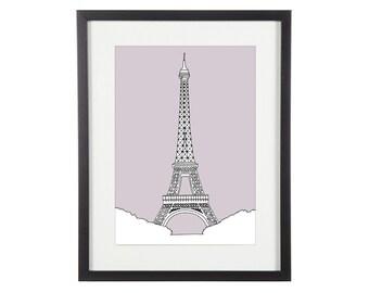 Eiffel Tower Print | Paris Print | Paris Prints | Paris Illustration | City Prints | Architectural Print | Architectural Drawing