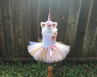 50f22d77148de Unicorn tutu dress - unicorn costume - Halloween costume - pink and gold  unicorn -girls dress up - pink and gold tutu unicorn gift for girl