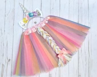 Unicorn costume - girls unicron outfit - pastel unicorn tutu - girls Halloween costume - tutu costume -unicorn headband -unicorn birthday