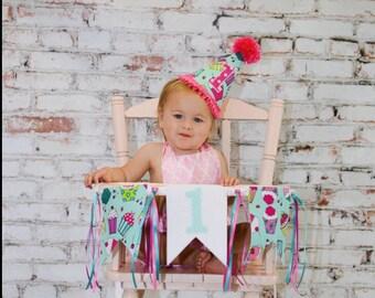 First birthday hat - birthday party banner -cupcake party hat - photo prop - first birthday - hat and banner - cupcake party - pink and aqua
