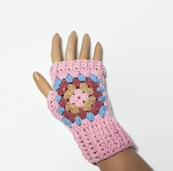 Calentadores de la muñeca Granny Square guantes Fingerless | Etsy