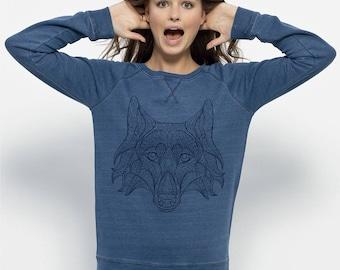 Women's Organic Cotton Sweatshirt Bleu Denim