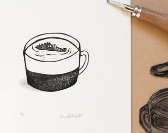 Illustration of a crocodile in a mug. black and white lino print