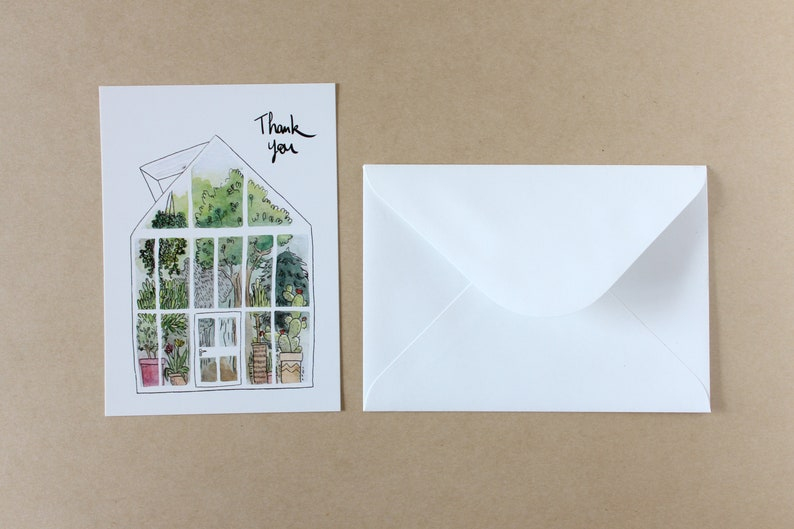 THANK YOU card Watercolor greenhouse.