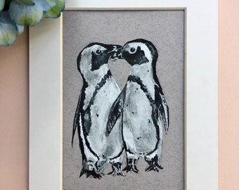 Two Penguins, Original Pen and Ink, A5