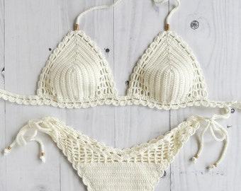 89e6ffb3d9 White Crochet Bikini, Brazilian Tanga Bikini Set, Cheeky Crochet Swimsuit,  High Cut Crochet Bathing Suit, Sexy Swimsuit, Bikini Crochet