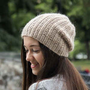 Slouchy Soft Wool Hat in Twinkle Brown Melange Premium Quality Knitted Slouchy Beanie Hat Woman/'s