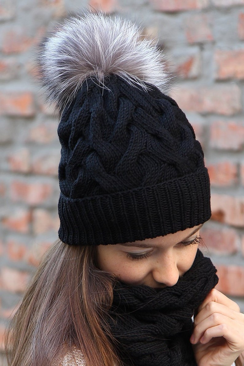 Fur Pom Pom Hat Warm Merino Wool Cable Knit Pompom Hat Black Knitted Winter Hat