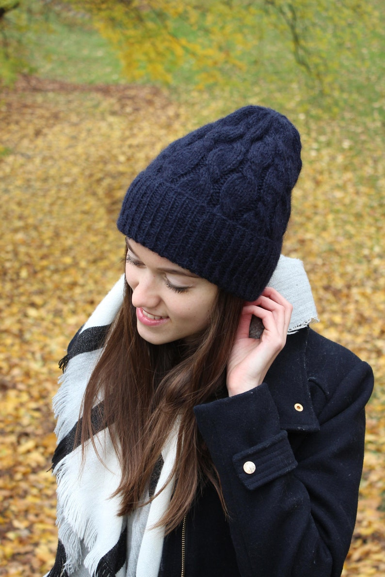 6015ed692ca Knit Alpaca Wool Hat For Women Cable Knit Winter Hat Fashion