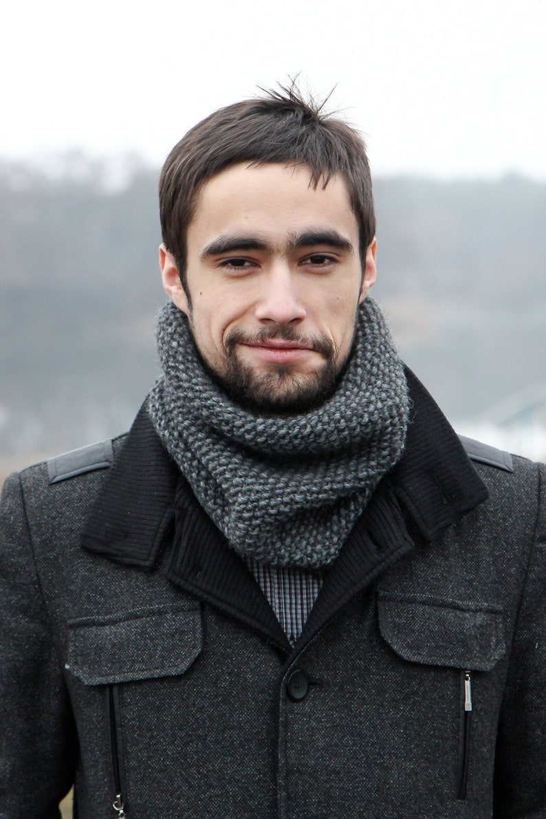 Mens Wool Scarf  Gray Mens Scarf Knitted  Gifts For Guys  image 1