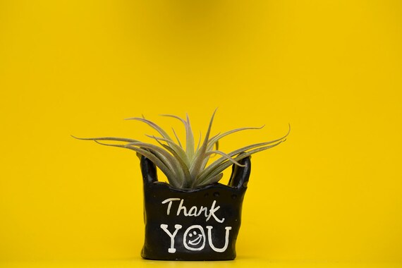 BLACK THANK YOU bag planter /thank you bag / thank you bag planter