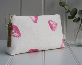 Make up bag in Peony & Sage Strawberries.