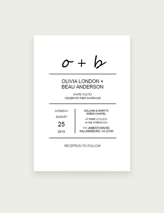 Minimal Wedding Invitation Template, Monogram Wedding Invite, Initials, Instant Download, DIY Printable, Instant Download PDF Editable 5x7