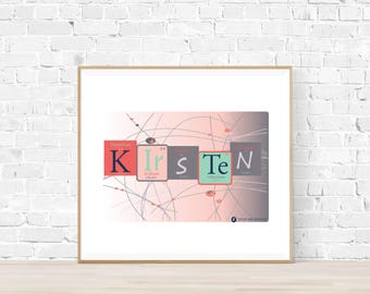 Periodic table name etsy kids custom name prints inspired by the periodic table wall art periodic table science print girls science bedroom print kids wall decor urtaz Gallery