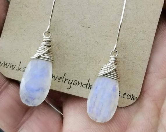 Sterling Silver Rainbow Moonstone Earrings - Vibrant Purple!