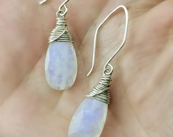 Sterling Silver Rainbow Moonstone Earrings - Vibrant Purple!