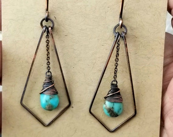 Morenci Turquoise Earrings - Oxidized/Polished Copper
