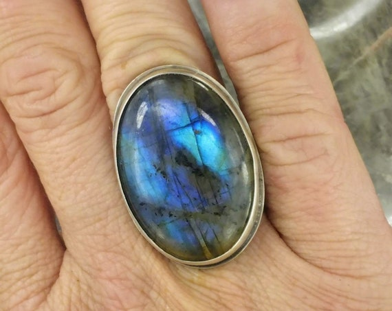 Blue Labradorite Statement Ring - Size 6.25 - Sterling Silver