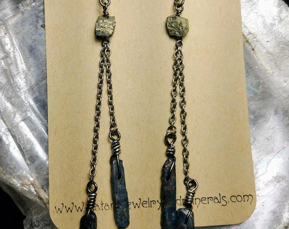 Rough Pyrite and Blue Kyanite Earrings- Sterling Silver
