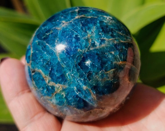 Blue Apatite Sphere / Blue Apatite Crystal Ball from the Niaina Apatite Mine in Isoanala, Madagascar - 269 grams