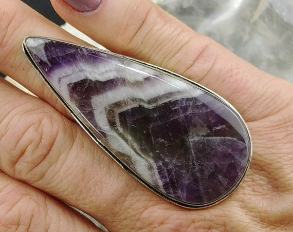 Large Chevron Amethyst Statement Ring - Size 7 - 925 Silver