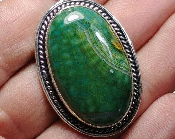 Green Snakeskin Quartz Pendant - 925 Silver