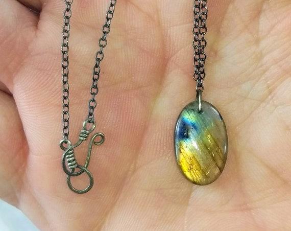 Labradorite Necklace - Double Sided Pendant