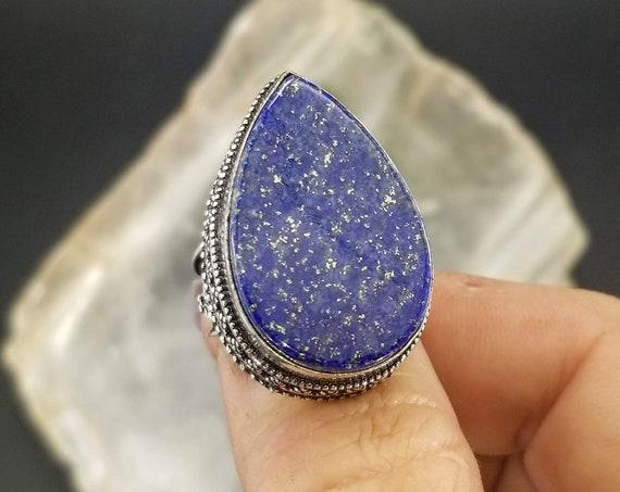 Lapis Lazuli Statement Ring - Size 7.25 - 925 Silver