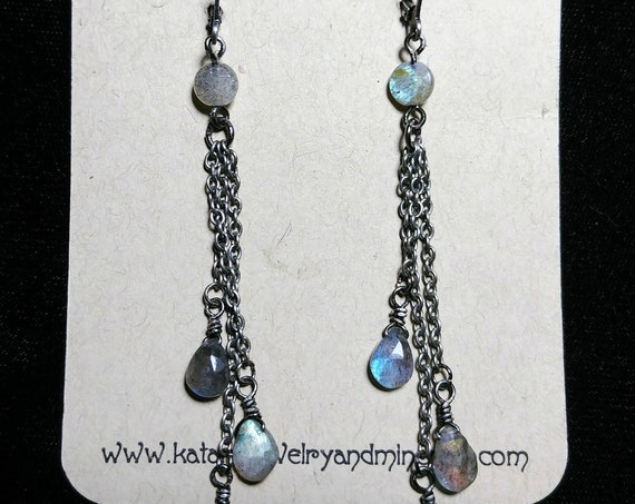 Oxidized Sterling Silver Labradorite Earrings