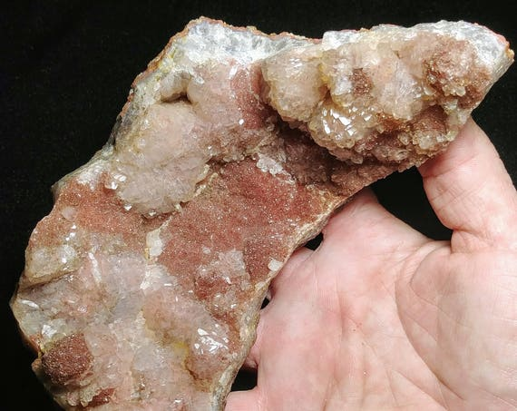 Large Pink Spirit Amethyst with Red Druzy Calcite Geode from the Gauteng Province, South Africa