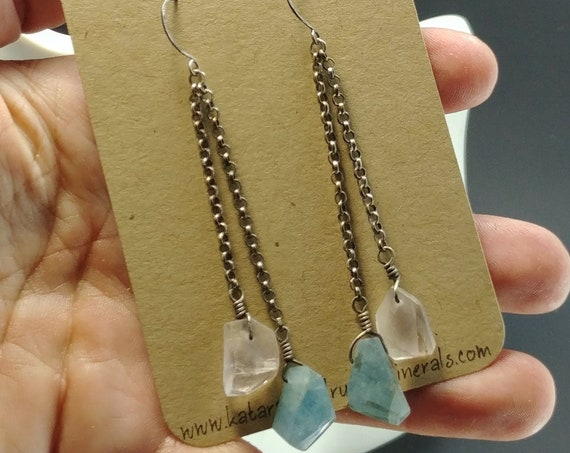 Aquamarine and Kunzite Silver Earrings