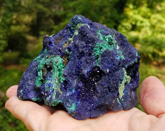 Large Museum Quality Azurite and Malachite Cluster from Morocco - 1.273 lbs / 578 grams