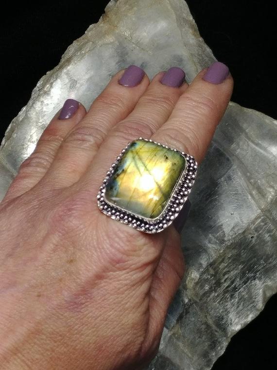 Labradorite Statement Ring - Size 8.75 - 925 Silver