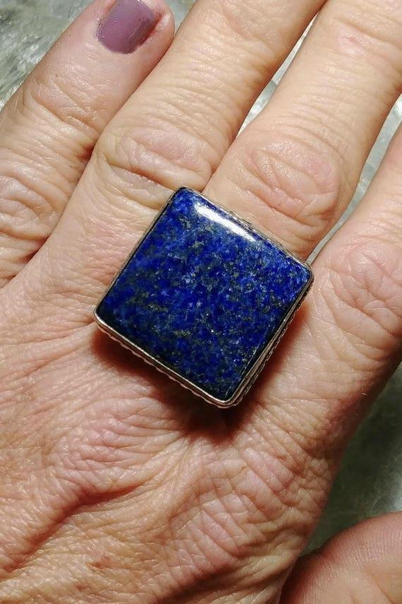 Lapis Lazuli Statement Ring - Size 5.5 - 925 Silver