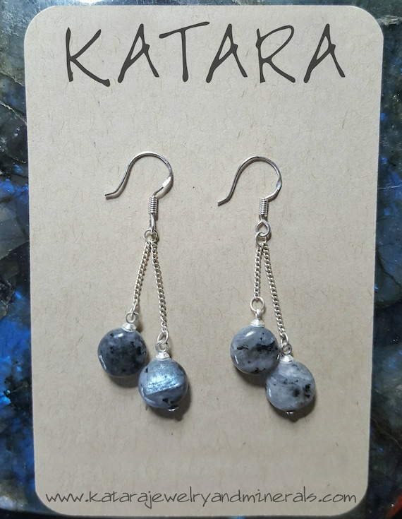 Larvikite (Russian Labradorite) Sterling Silver Earrings