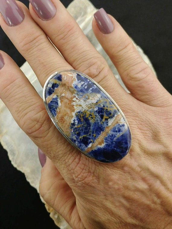 Large Sodalite Statement Ring - Size 9.75 - 925 Silver