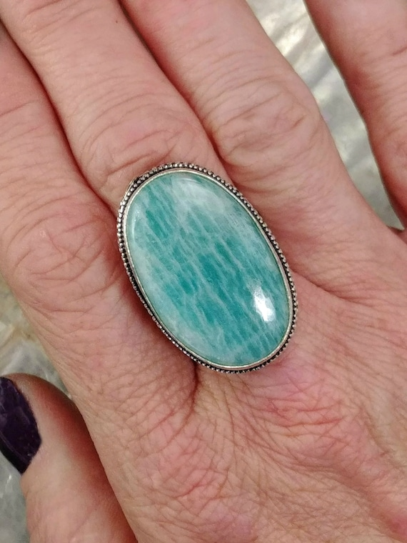 Amazonite Statement Ring - Size 7.25 - 925 Silver